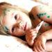 Փոքրիկ աղջիկ հիվանդ ջրծաղիկով